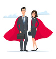 Man and woman business superheroes Cartoon Super vector image
