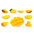 mango icon set cartoon style vector image