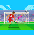 penalty soccer players defending the gates vector image vector image