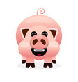 pink cartoon pig smiling on white background vector image