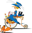 Queen cyclist cartoon vector image