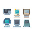 retro computers set old electronic pc various vector image