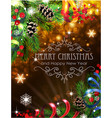 ribbons fir branches and cones on christmas vector image vector image