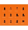 Safe sex and Condoms icons on orange background vector image vector image