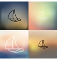 sailboat icon on blurred background vector image
