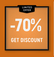 sale 70 percent off get discount website button vector image vector image
