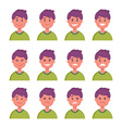 set cartoon character faces with different vector image