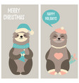 set christmas card with two funny sloths vector image
