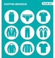 set of round icons white Shopping menswear T vector image