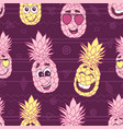 smiling pineapple faces seamless repeat pattern vector image vector image