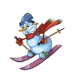 snowman with red scarf skiing vector image vector image