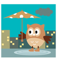 The Owl From The Rain Under An Umbrella vector image