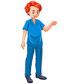 Vet dressed in blue uniform vector image vector image