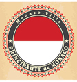 Vintage label cards of Monaco flag vector image