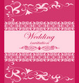 wedding invitation card with pink ornament vector image