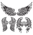 wings bird feather black white tattoo set 7 vector image vector image