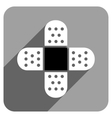Plaster Cross Flat Square Icon with Long Shadow vector image