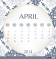 2014 calendar vintage calendar template for April vector image vector image