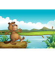 A beaver above a floating wood vector image vector image