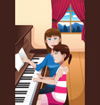a girl learning to play a piano vector image vector image