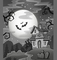 black and white haunted house vector image
