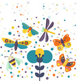 Bugs and Flowers vector image vector image