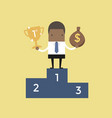 businessman standing on winning podium vector image vector image