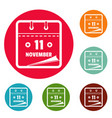 calendar eleventh november icons circle set vector image vector image