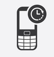cell phone icon with clock sign vector image