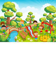 Children playing with toys on the playground in th vector image vector image