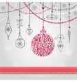 Christmas card with ballgarlandslettering vector image vector image