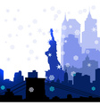 Christmas New York silhouettes vector image