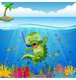 crocodiles snorkeling underwater sea vector image