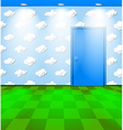Eco themed room with door vector image vector image
