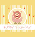 flat design birthday party card with cute pig and vector image vector image