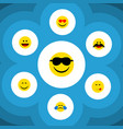 flat icon face set of cold sweat cheerful smile vector image vector image