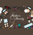 flat style makeup and skincare background with vector image