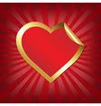Golden Heart Sticker With Sunburst vector image vector image
