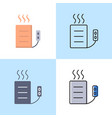 heating pad icon set in flat and line style vector image vector image