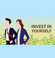 invest in yourself concept with business man and vector image