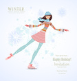 Invitation card with happy girl skating on ice for vector image vector image