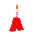 letter a birthday font letter and candle vector image vector image