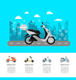 modern scooter on road poster in flat style vector image vector image