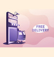online delivery big smartphone turned into vector image