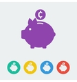 piggy bank flat circle icon vector image