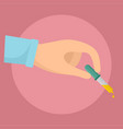 pipette in hand icon flat style vector image