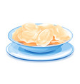 plate with ukrainian national dish varenyky vector image vector image