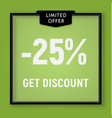 sale 25 percent off get discount website button vector image vector image
