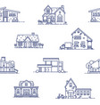 seamless pattern with suburban houses drawn vector image