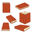set cartoon books in red hardcover vector image vector image